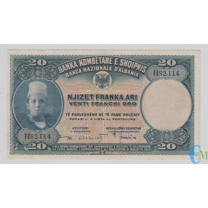 Italia - 20 Franchi Oro Banca Nazionale D'Albania Protettorato Febbraio 1926