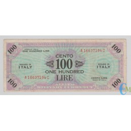 Italia - 100 AM Lire One Hundred Lire Bilingue FLC A-C 1943 A
