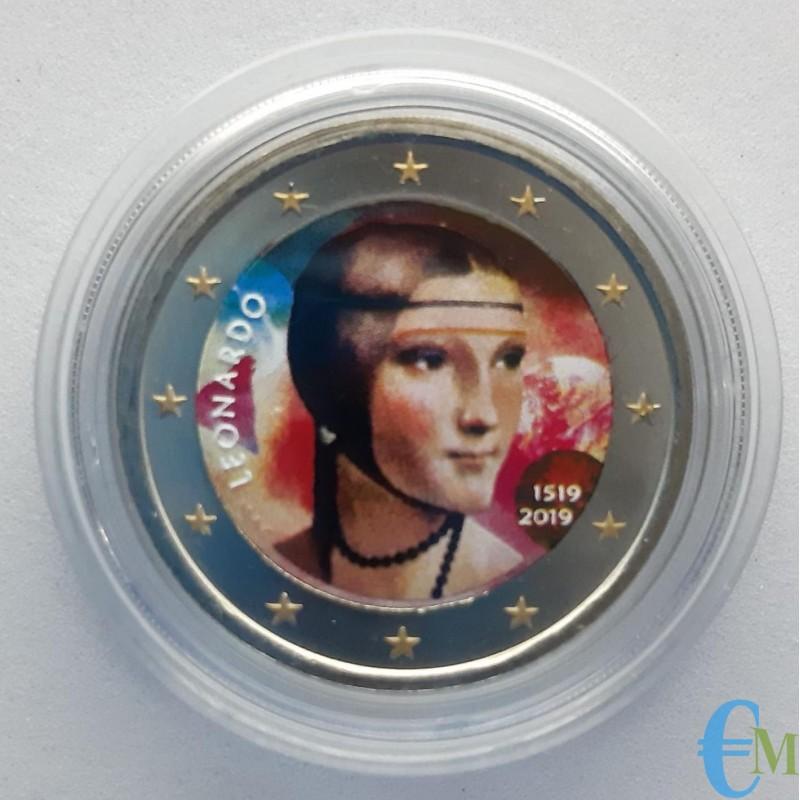 Italia 2019 - 2 euro colorato Leonardo da Vinci