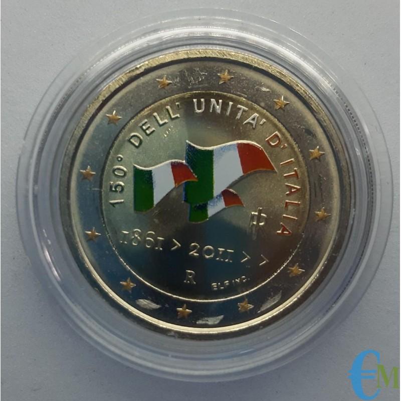 Italia 2011 - 2 euro commemorativo colorato 150° anniversario dell'unità d'Italia.