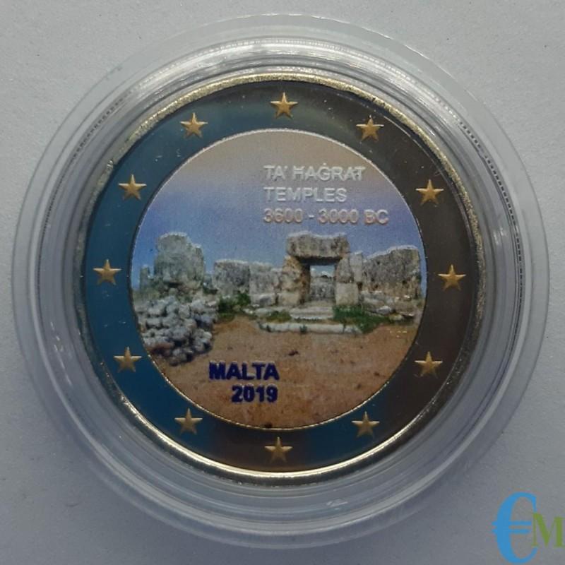 Malta 2019 - 2 euro colorato templi Ta Hagrat