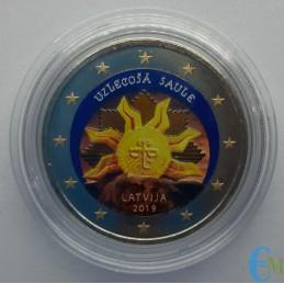 Lettonia 2019 - 2 euro colorato Sole nascente