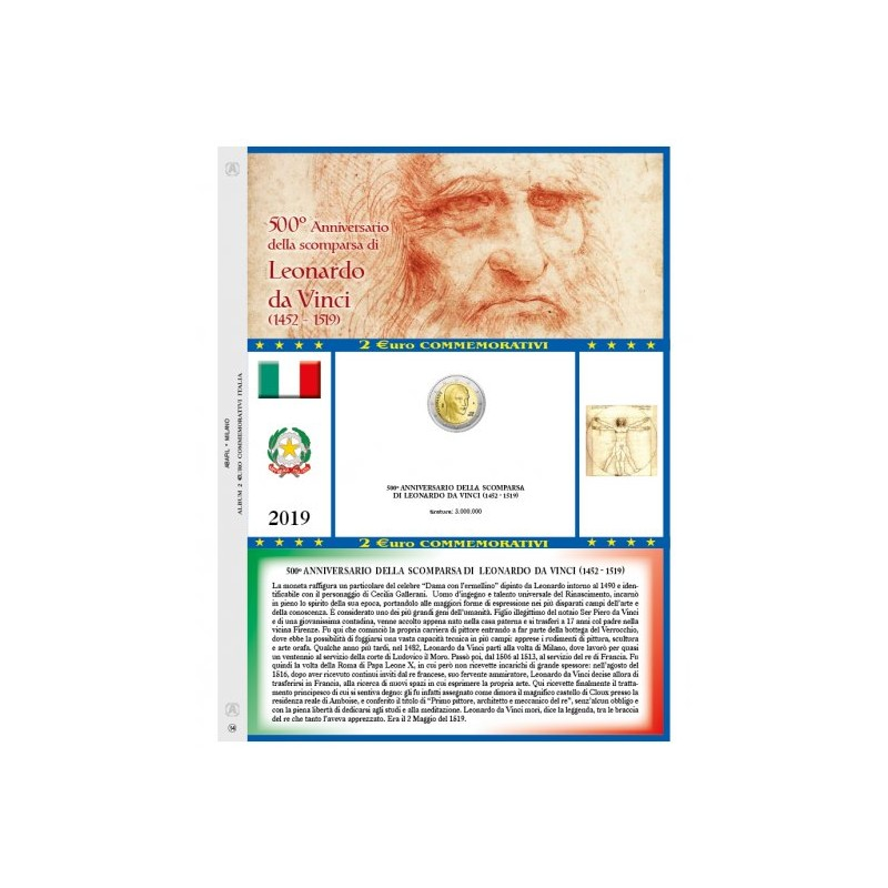 Foglio 2 € Commemorativo Italia 2019 Leonardo Da Vinci