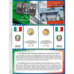 Foglio 2 € Commemorativo Italia 2018 Costituzione e Sanità