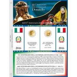 Foglio 2 € Commemorativo Italia 2016 Donatello e Plauto