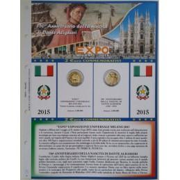 Foglio 2 € Commemorativo Italia 2015 EXPO e Dante