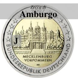 Germania 2007 - 2 euro commemorativo Mecklenburg-Vorpommern, castello di Shwerin emesso dalla zecca di Amburgo con sigla J