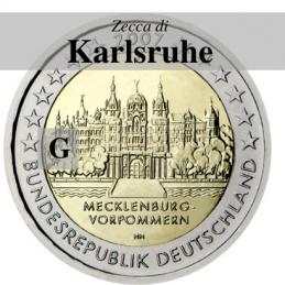 Germania 2007 - 2 euro commemorativo Mecklenburg-Vorpommern, castello di Shwerin emesso dalla zecca di Karlsruhe con sigla G