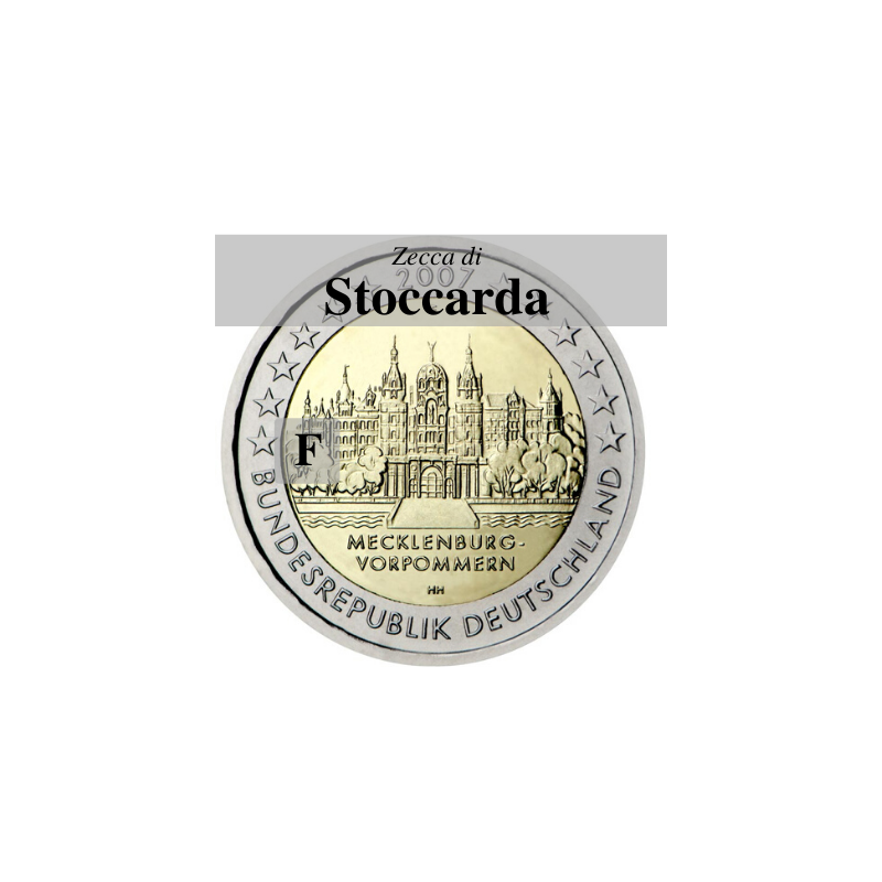Germania 2007 - 2 euro commemorativo Mecklenburg-Vorpommern, castello di Shwerin emesso dalla zecca di Stoccarda con sigla F