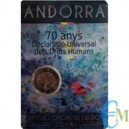 Andorra 2018 - 2 euro commemorativo 70° anniversario della Dichiarazione universale dei diritti dell'uomo.