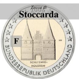 Germania 2006 - 2 euro commemorativo Holstentor a Lubecca, 1° moneta serie dedicata ai Lander tedeschi, zecca di Stoccarda F