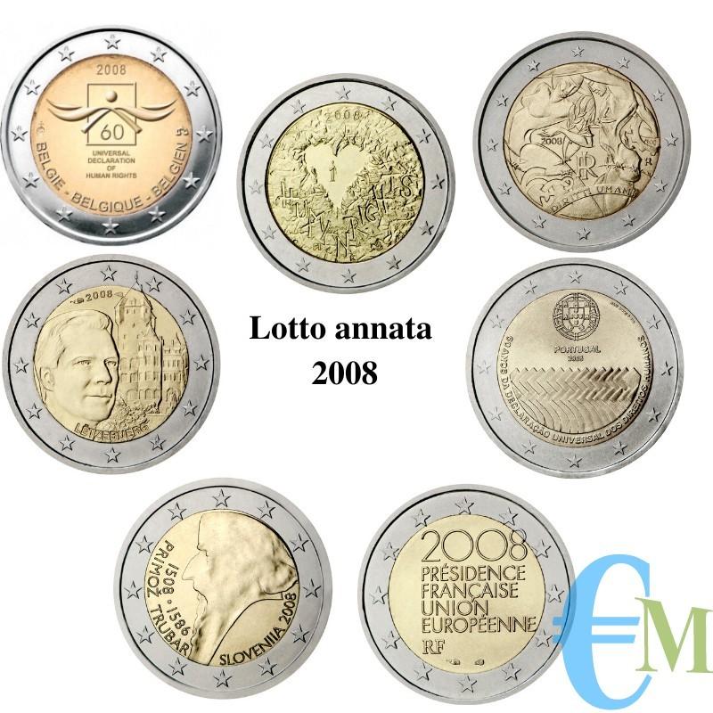 Lotto annata 2008 - 2 euro commemorativi