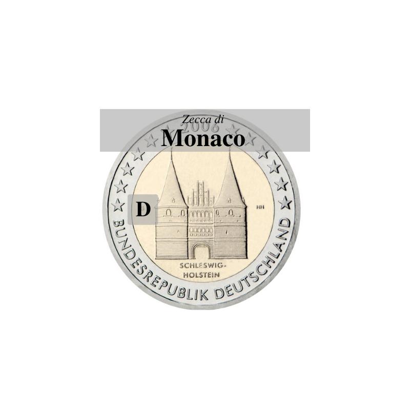 Germania 2006 - 2 euro commemorativo Holstentor a Lubecca, 1° moneta della serie dedicata ai Lander tedeschi, zecca di Monaco D