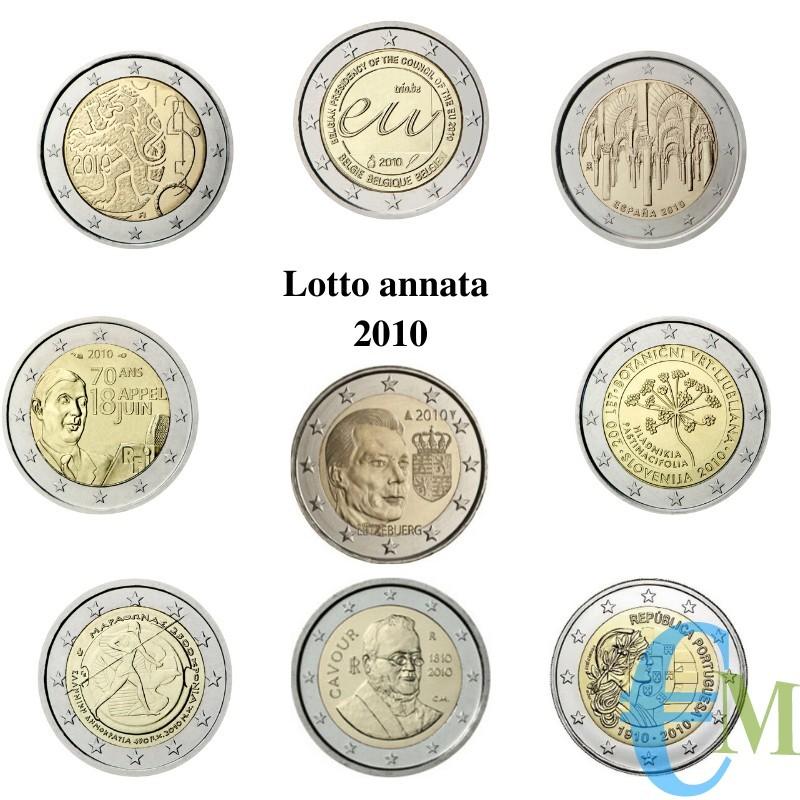 Lotto annata 2010 - 2 euro commemorativi