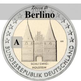 Germania 2006 - 2 euro commemorativo Holstentor a Lubecca, 1° moneta della serie dedicata ai Lander tedeschi, zecca di Berlino A