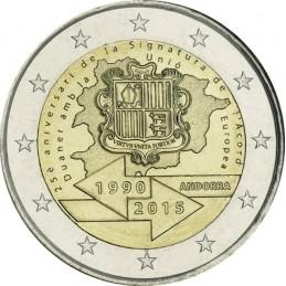 Andorra 2015 - 2 euro commemorativo 25° anniversario della firma dell'accordo doganale con l'Unione Europea.