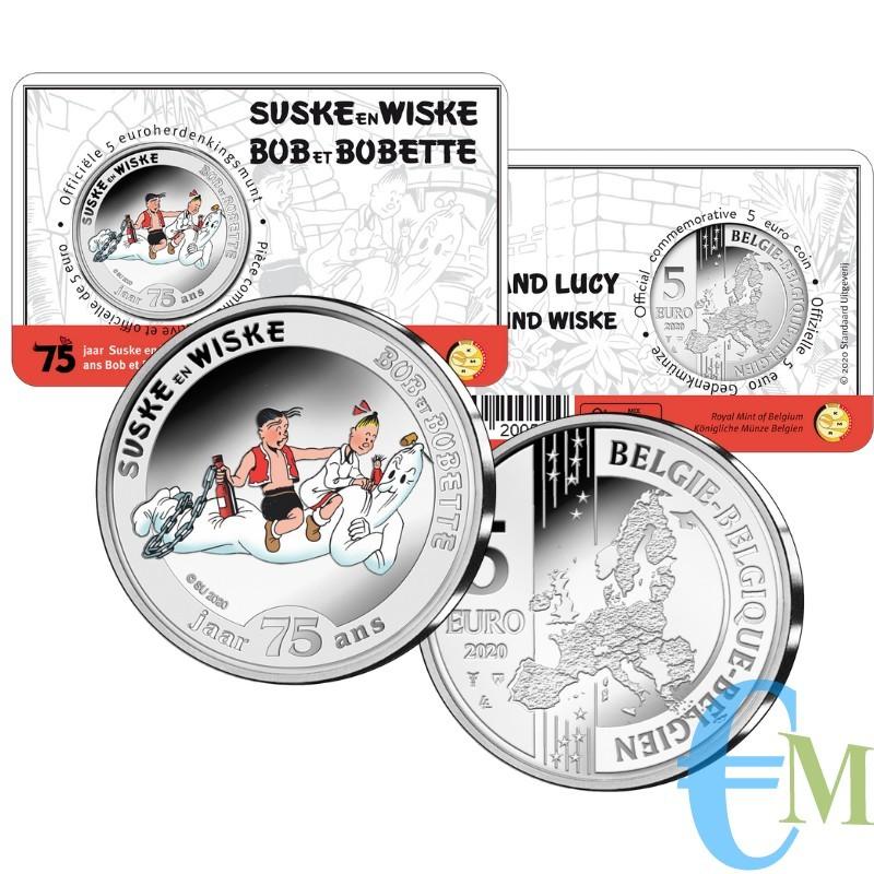 Belgio 2020 - 5 euro 75 anni  Suske en Wiske BU in coincard smaltato