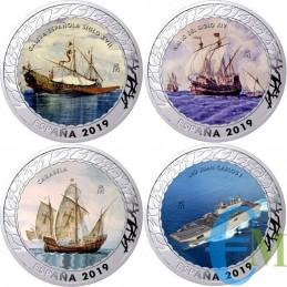 Spagna 2019 - 1,5 euro Set 4 monete Storia della Navigazione 3° emissione