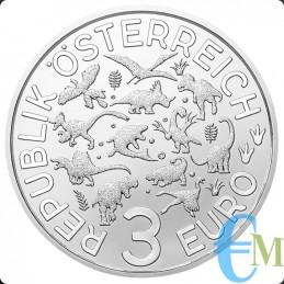 Austria 2020 - 3 euro Arambourgiania Philadelphia - 3° moneta Supersaurs rovescio