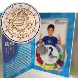 San Marino 2012 - 2 euro commemorativo 10° anniversario dell'introduzione in circolazione delle banconote e monete in euro.
