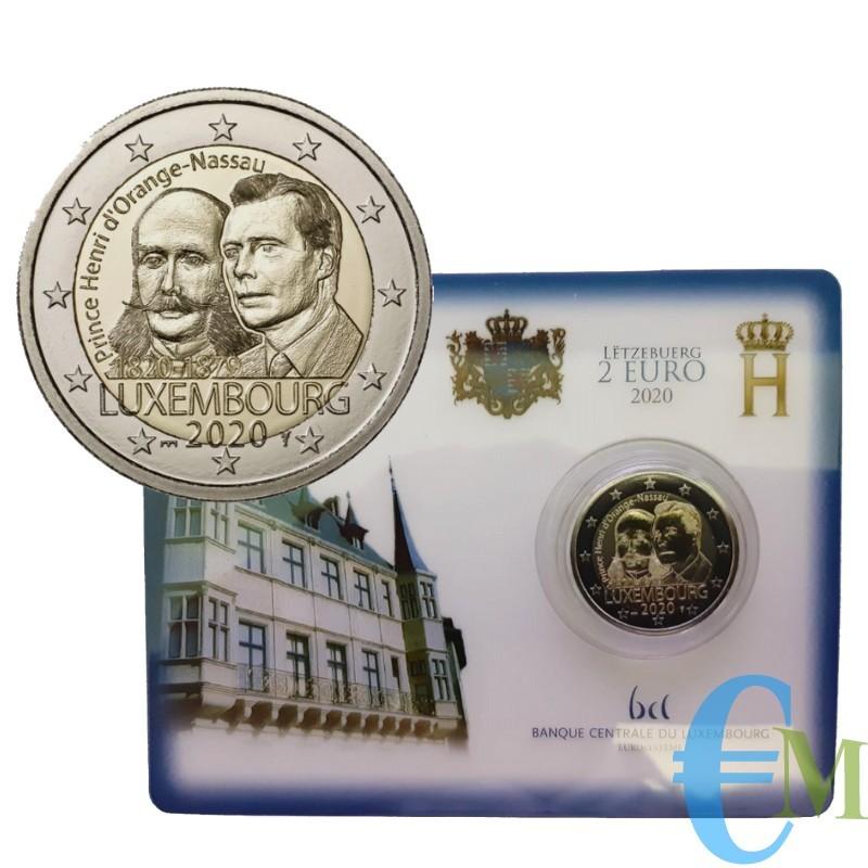 Lussemburgo 2020 - 2 euro 200 ° nascita Enrico BU in coincard con il ponte