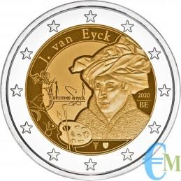 Belgio 2020 - 2 euro 630° nascita Jan van Eyck BU in coincard Olandese moneta