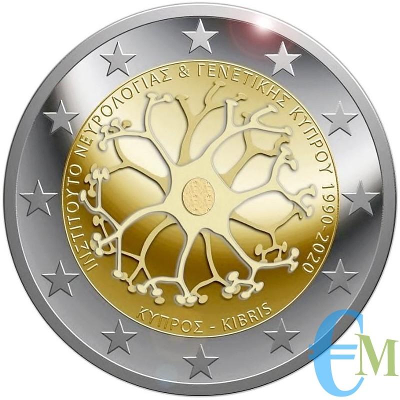 Cipro 2020 - 2 euro commemorativo 30° anniversario Fondazione Istituto di Neurologia e Genetica