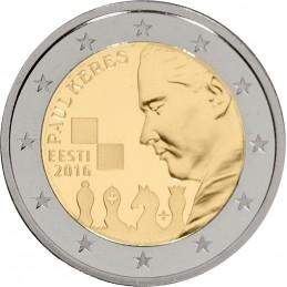 Estonia 2016 - 2 euro commemorativo 100° anniversario della nascita di Paul Keres (1919 - 1975), scacchista sovietico.