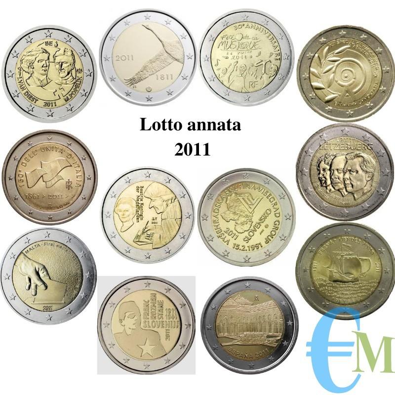 2011 - Lotto annata 2 euro commemorativi del 2011
