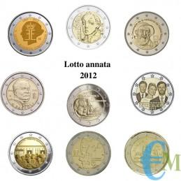 2012 - Lotto annata 2 euro commemorativi del 2012