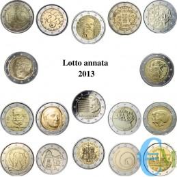 2013 - Lotto annata 2 euro commemorativi del 2013