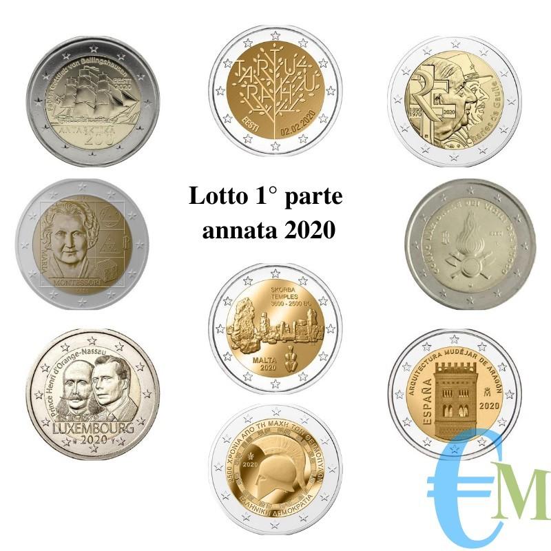2020 - Lotto 1° annata 2 euro commemorativi del 2020