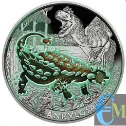 Austria 2020 - 3 euro Ankylosaurus Magniventris - 4° moneta Supersaurs fluorescenza