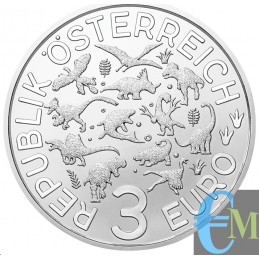 Austria 2020 - 3 euro Ankylosaurus Magniventris - 4° moneta Supersaurs rovescio
