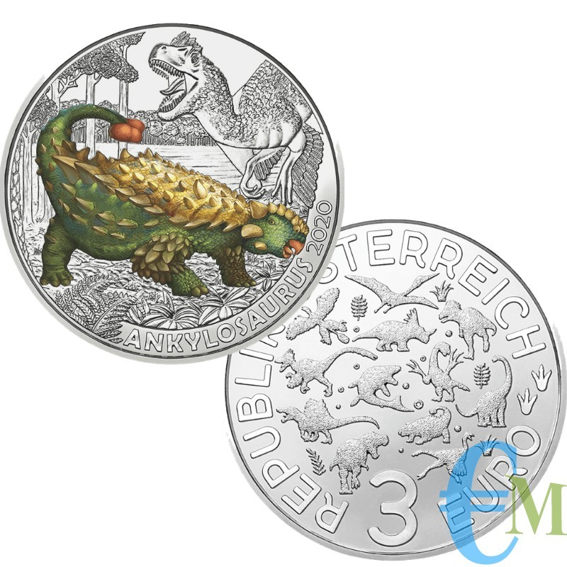 Austria 2020 - 3 euro Ankylosaurus Magniventris - 4° moneta Supersaurs