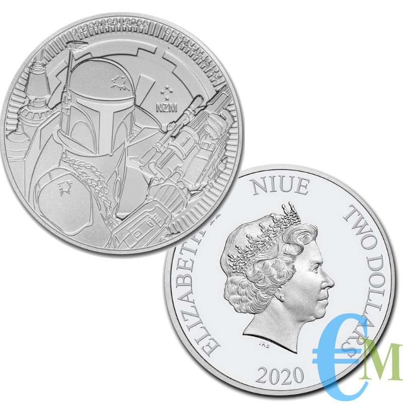 NIUE 2020 - 2 Dollars Star Wars - Boba Fett - 1 oncia oz