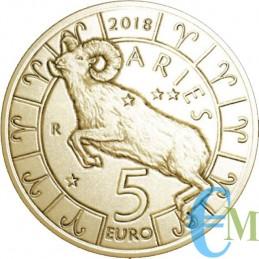 San Marino 2018 - 5 Euro Zodiaco Ariete dritto
