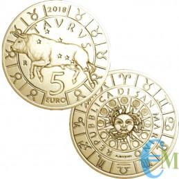 San Marino 2018-5 Euro Zodiac Tauro