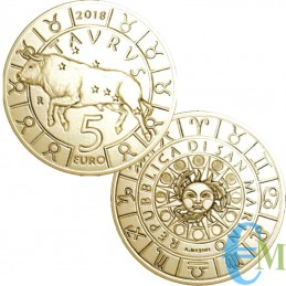 San Marino 2018 - 5 Euro Zodiac Taurus