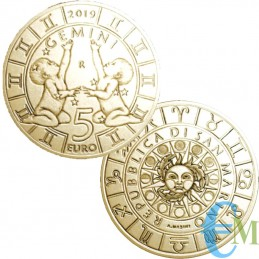 San Marino 2019 - 5 Euro Zodiaco Gemelli