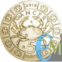 San Marino 2019 - 5 Euro Zodiaco Cancro dritto