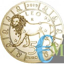 San Marino 2019 - 5 Euro Zodiaco Leone dritto