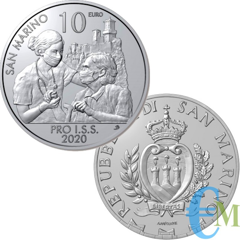 """San Marino 2020 - 10 euro monometallico """"Pro I.S.S."""""""