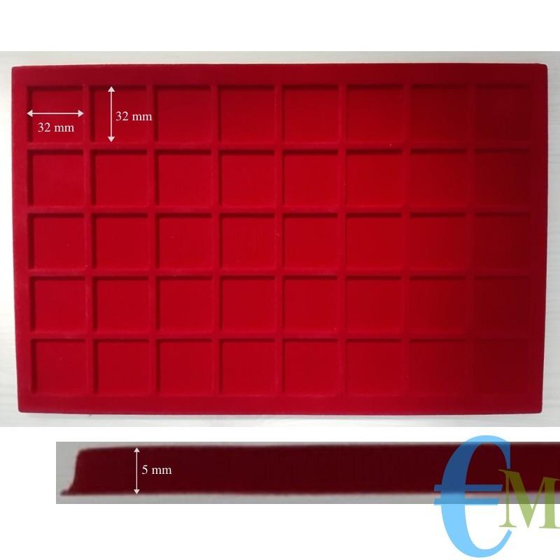 Vassoi in Floccato rosso 40 caselle 32 x 32 mm spessore 5 mm