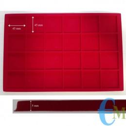 Vassoi in Floccato rosso 24 caselle 45 x 45 mm spessore 5 mm