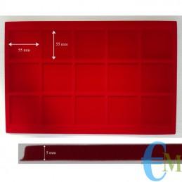 Vassoi in Floccato rosso 15 caselle 55 x 55 mm spessore 5 mm