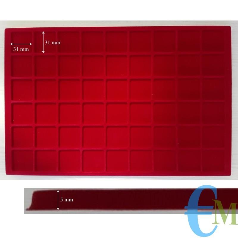 Vassoi in Floccato rosso 54 caselle 31 x 31 mm spessore 5 mm