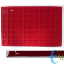 Vassoi in Floccato rosso 77 caselle 25 x 25 mm spessore 5 mm