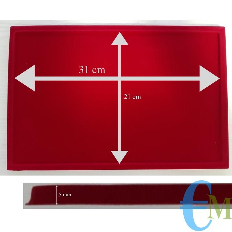 Vassoi in Floccato rosso 1 casella 21 x 31 cm spessore 5 mm