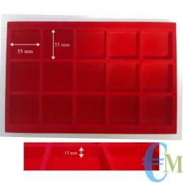 Vassoi in Floccato rosso 15 caselle 55 x 55 mm spessore 15 mm